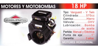 Motor horizontal 18 HP Briggs Stratton